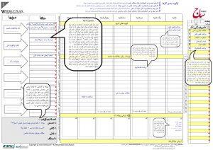 نمونه تکمیل شده جدول برنامه ریزی هفتگی ساج